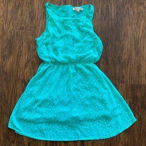 Forever 21 teal and white polka dot dress - M